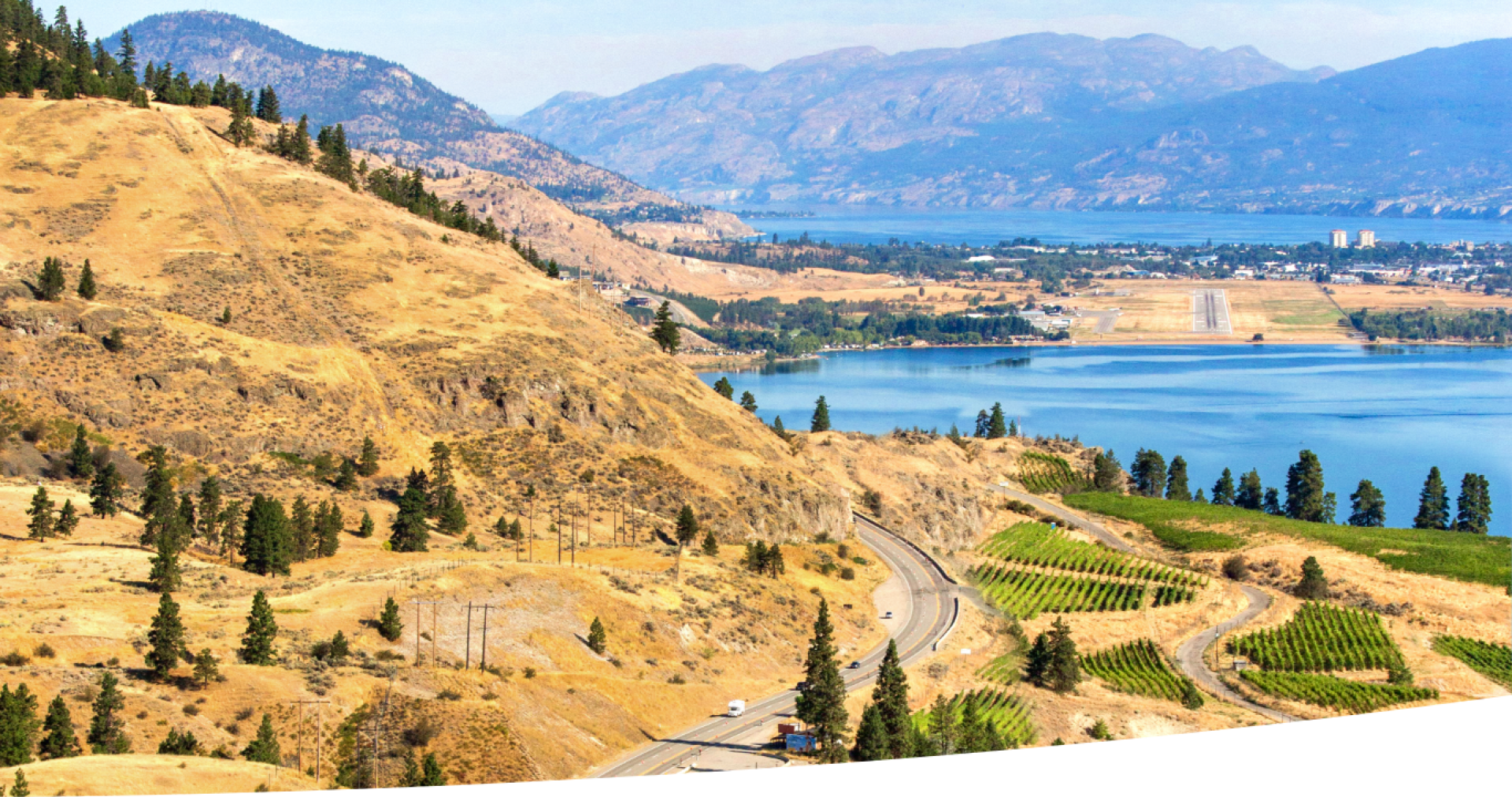 Okanagan landscape scene of hills and the lake